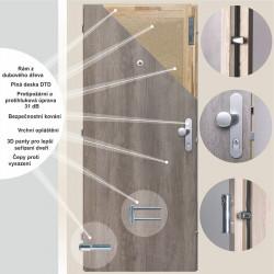 Bezpečnostní dveře BT 2, 80 L, Bílý PREMIUM